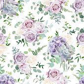 Seamless vector design pattern arranged from dusty violet lavender,creamy and mauve antique rose,hydrangea, purple pale flowers, succulent,eucalyptus, greenery. Watercolor style floral print. Editable