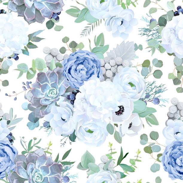 bildbanksillustrationer, clip art samt tecknat material och ikoner med sömlös vektor designmönster från dammiga blå ros, vita blommor - white roses