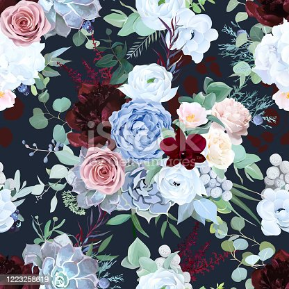 istock Seamless vector design pattern of dusty blue garden rose, white anemone 1223258619