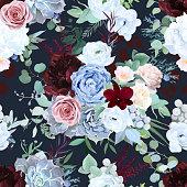 istock Seamless vector design pattern of dusty blue garden rose, white anemone 1223258619