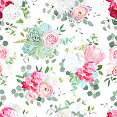 Seamless vector design pattern. Pink and white hydrangea, rose, chrysanthemum, ranunculus, protea, succulent, eucalyptus and greenery vector design. Spring wedding print. All elements are isolated