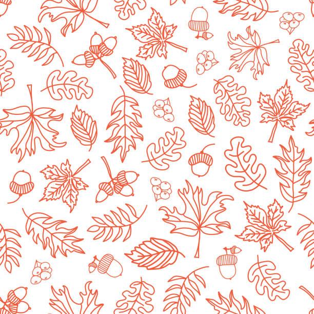 Seamless vector doodle leaves background. Orange vector art illustration