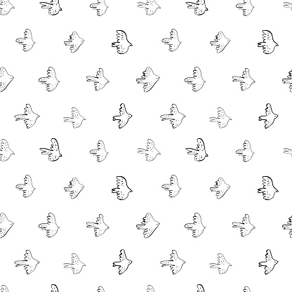 Seamless vector doodle pattern with black birds. Japanese abstract motif hand painted by brush.