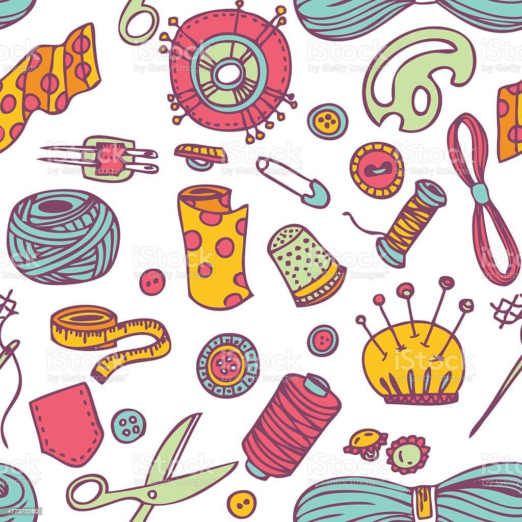 Nahtloser Vektor Doodle Nähen Und Needlework Muster Stock Vektor Art ...