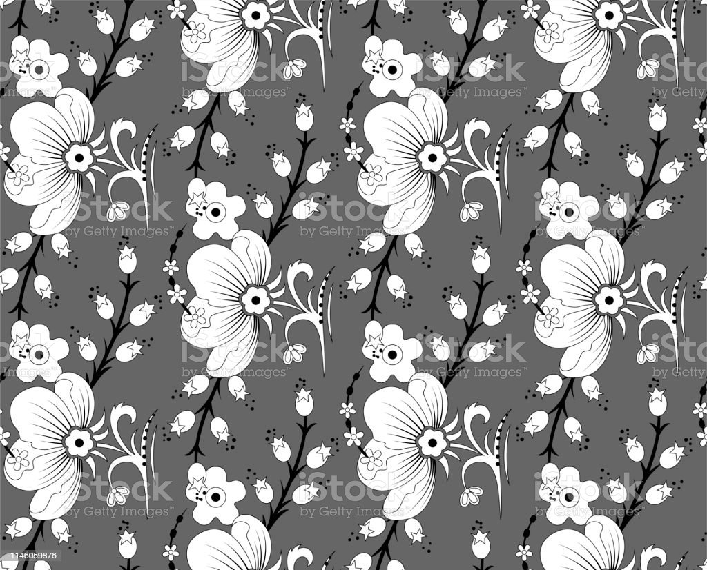 Seamless Vector Floral Pattern Black Stroked Illustration Of