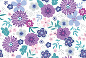 Seamless Vector Floral Pattern in Trendy Spring Fashion Colors
