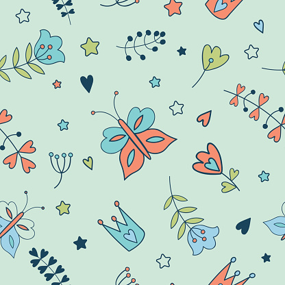 Seamless vector floral pattern. Spring illustration of cute butt