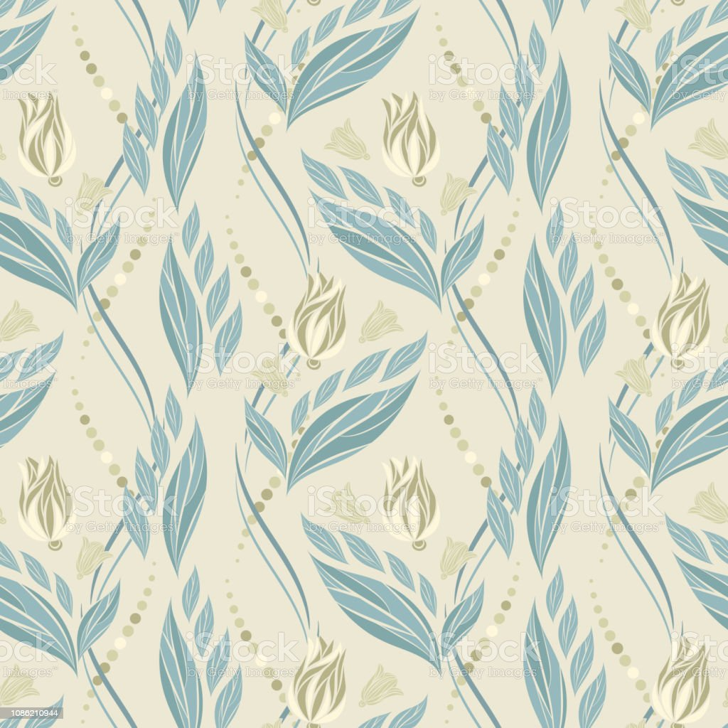 Seamless Vector Floral Pattern With Abstract Flowers And Leaves In Pastel Blue Colors On Light Background Stock Illustration Download Image Now