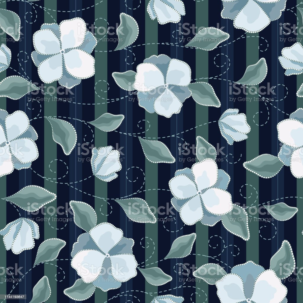 Seamless Vector Floral Pattern With Abstract Flowers And