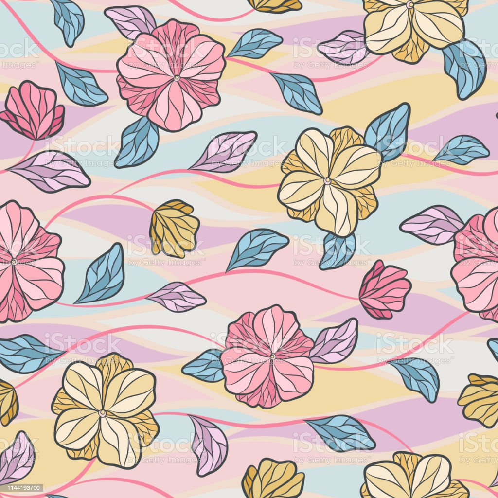 Seamless Vector Floral Pattern With Abstract Tropical Flowers In
