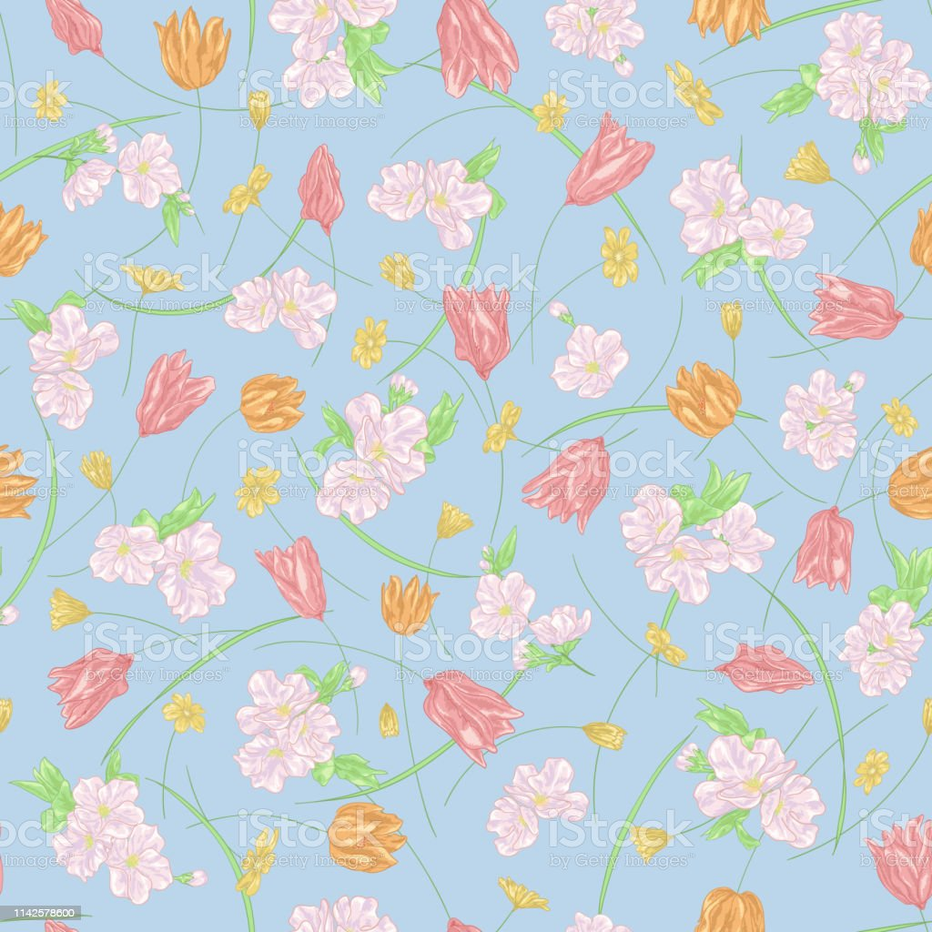 Seamless Vector Floral Pattern With Hand Drawn Spring Flowers In