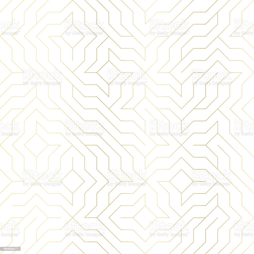 Seamless vector geometric golden line pattern. Abstract background with gold texture on white. Simple minimalistic graphic print. Repeating modern swatch trellis grid. Trendy hipster sacred geometry - ilustração de arte vetorial