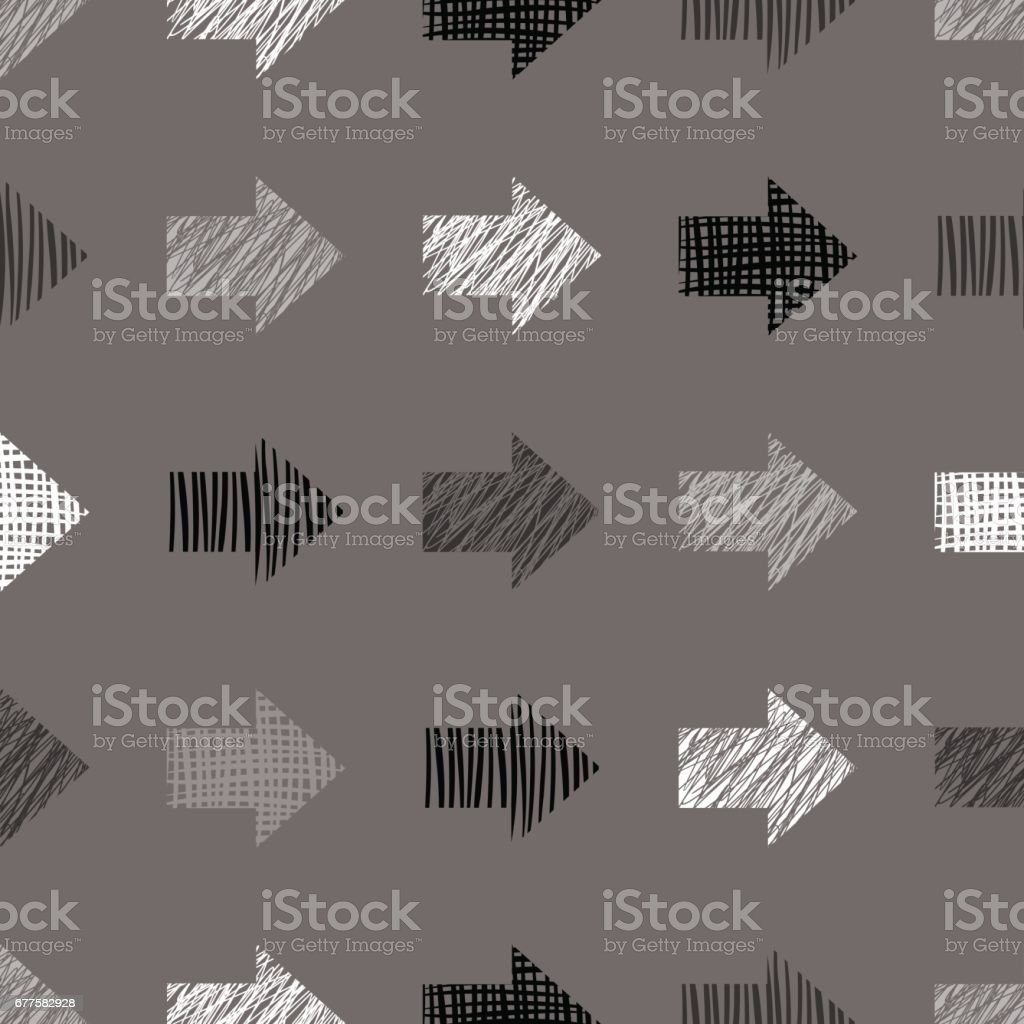 Seamless vector geometrical pattern with arrows, endless background with hand drawn textured geometric figures. Pastel Graphic illustration Template for wrapping, web backgrounds, wallpaper royalty-free seamless vector geometrical pattern with arrows endless background with hand drawn textured geometric figures pastel graphic illustration template for wrapping web backgrounds wallpaper stock vector art & more images of back