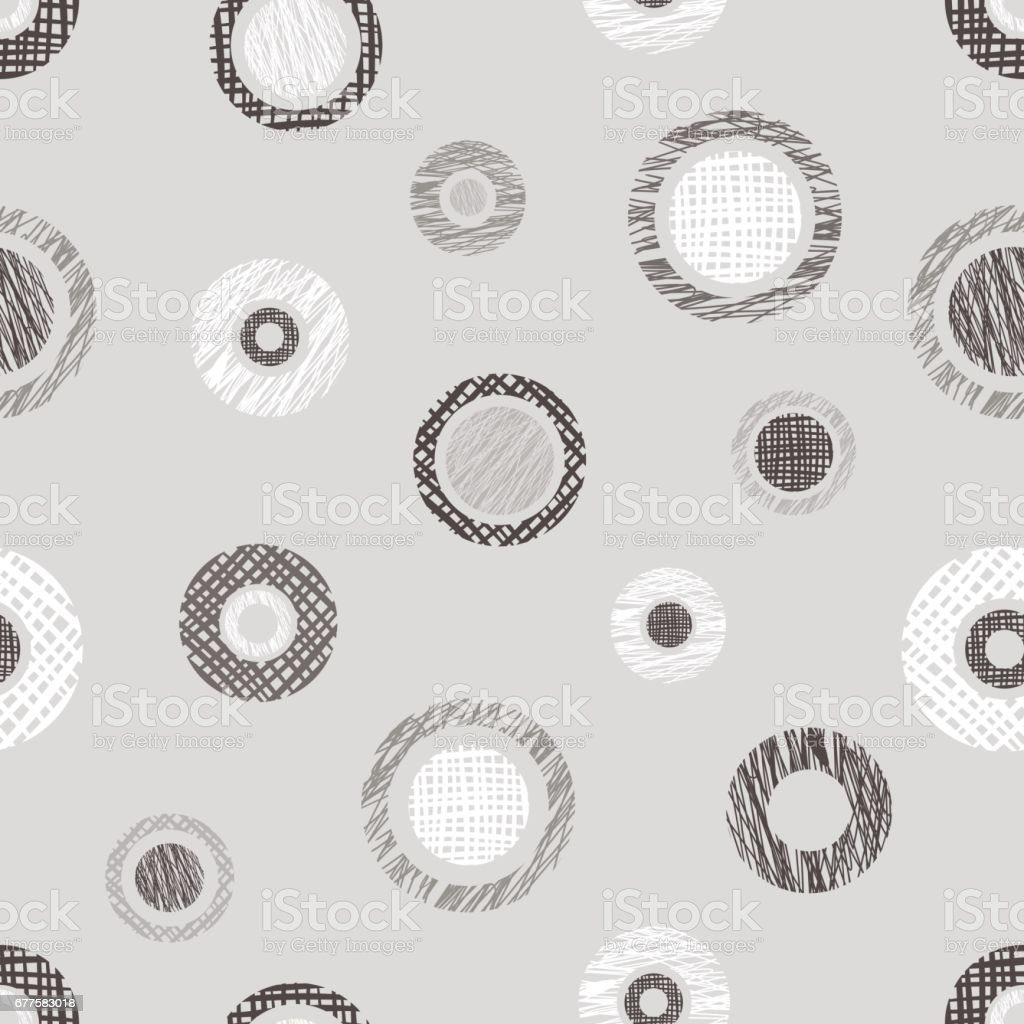 Seamless vector geometrical pattern with circles, endless background with hand drawn textured geometric figures. Pastel Graphic illustration Template for wrapping, web backgrounds royalty-free seamless vector geometrical pattern with circles endless background with hand drawn textured geometric figures pastel graphic illustration template for wrapping web backgrounds stock vector art & more images of back