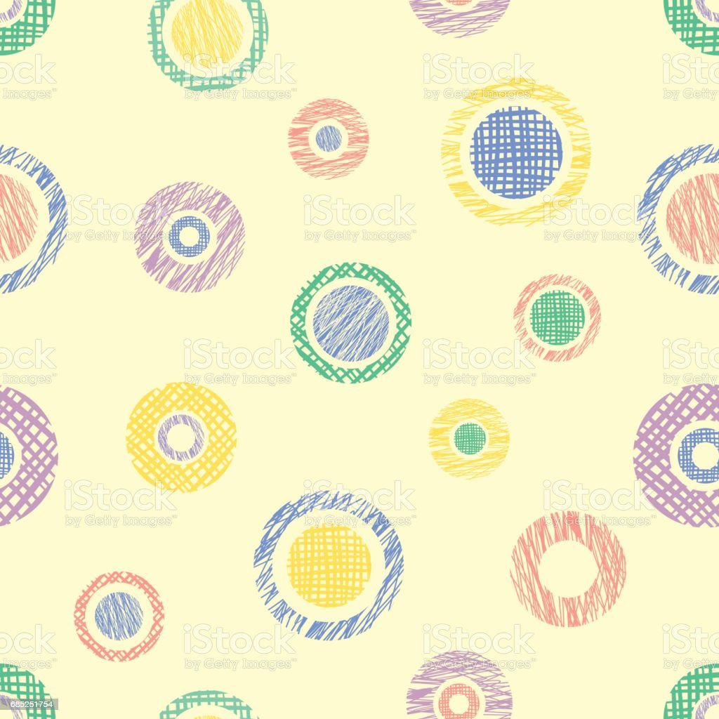 Seamless vector geometrical pattern with circles, endless background with hand drawn textured geometric figures. Pastel Graphic illustration Template for wrapping, web backgrounds royalty-free seamless vector geometrical pattern with circles endless background with hand drawn textured geometric figures pastel graphic illustration template for wrapping web backgrounds stock vector art & more images of arts culture and entertainment