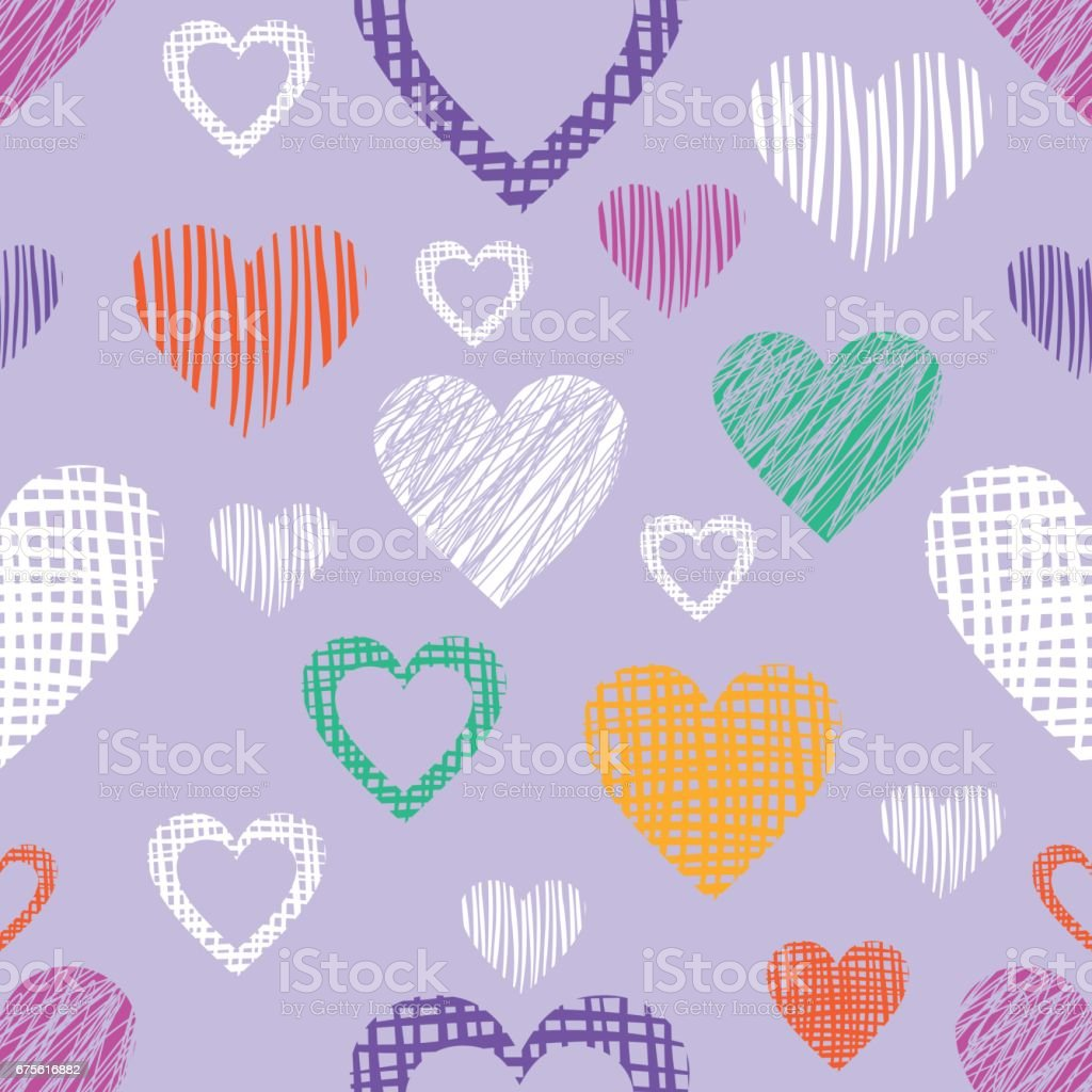 Seamless vector  geometrical pattern with hearts. Blue endless background with  hand drawn textured geometric figures. Graphic  illustration Template for wrapping, web backgrounds, wallpaper royalty-free seamless vector geometrical pattern with hearts blue endless background with hand drawn textured geometric figures graphic illustration template for wrapping web backgrounds wallpaper stock vector art & more images of back