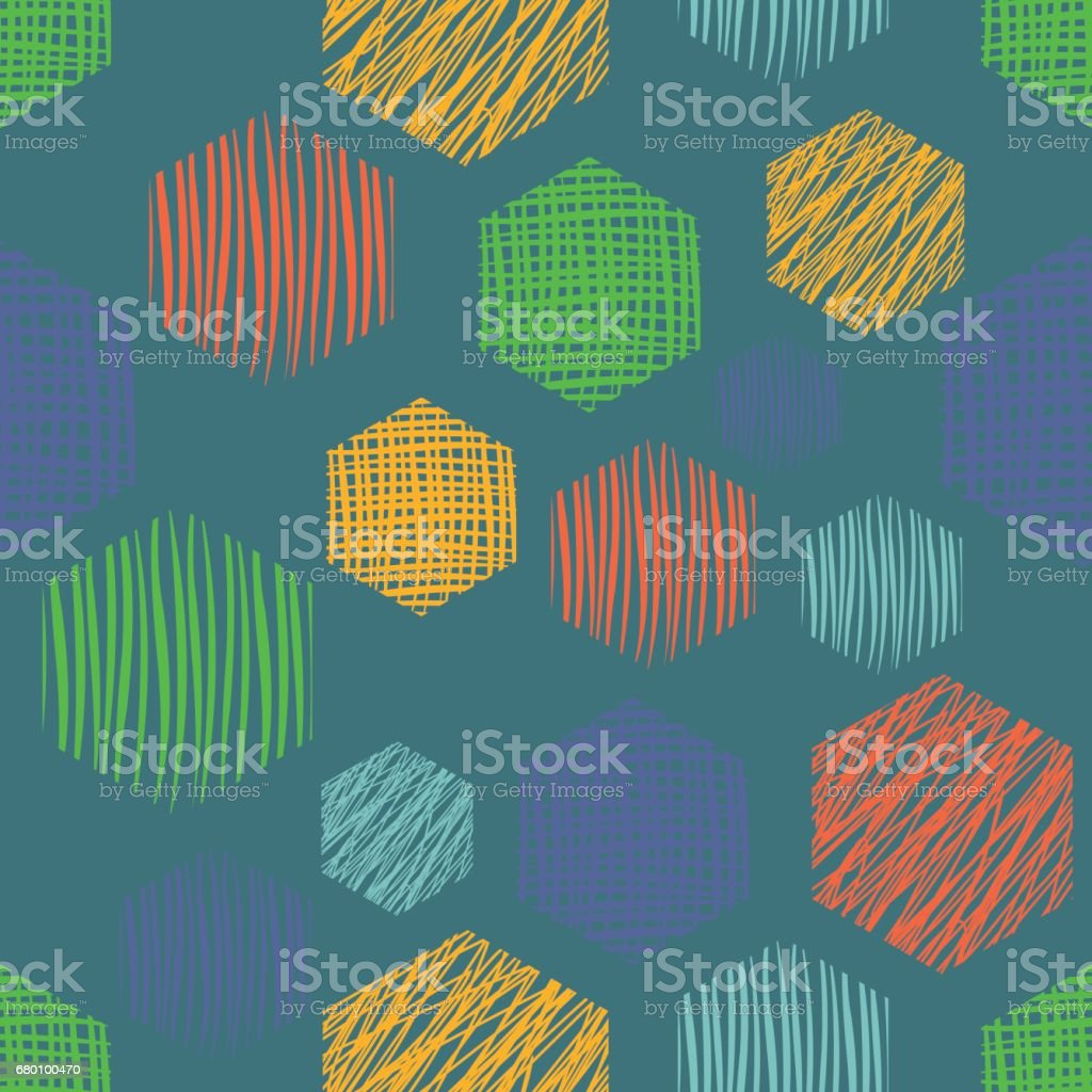 Seamless Vector Geometrical Pattern With Rectangles Blue Endless Background With Hand Drawn Textured Geometric Figures