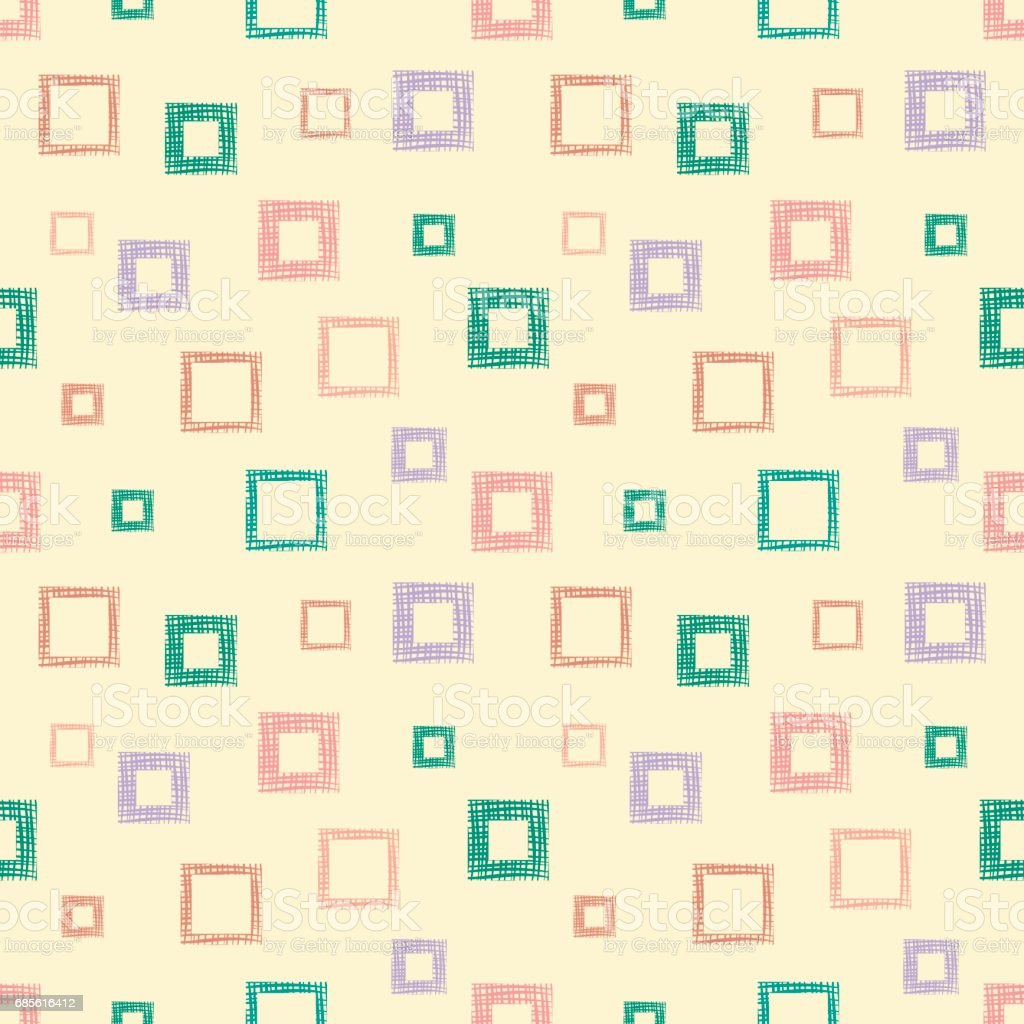 Seamless vector geometrical pattern with rhombus, squares. endless background with hand drawn textured geometric figures. Pastel Graphic illustration Template for wrapping, web backgrounds, wallpaper royalty-free seamless vector geometrical pattern with rhombus squares endless background with hand drawn textured geometric figures pastel graphic illustration template for wrapping web backgrounds wallpaper stock vector art & more images of arts culture and entertainment