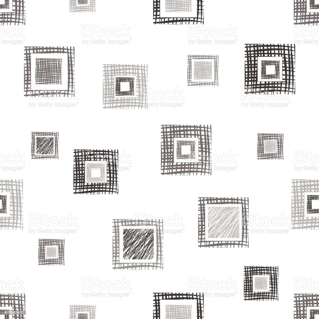 Seamless vector geometrical pattern with rhombus, squares, rectangles endless background with hand drawn textured geometric figures. Pastel Graphic illustration Template for wrapping, web backgrounds royalty-free seamless vector geometrical pattern with rhombus squares rectangles endless background with hand drawn textured geometric figures pastel graphic illustration template for wrapping web backgrounds stock vector art & more images of back