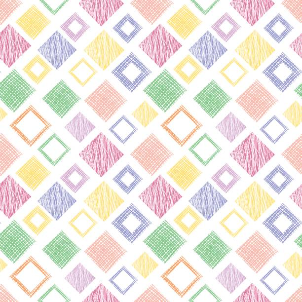 Seamless vector geometrical pattern with rhombus, squares, rectangles endless background with hand drawn textured geometric figures. Pastel Graphic illustration Template for wrapping, web backgrounds vector art illustration
