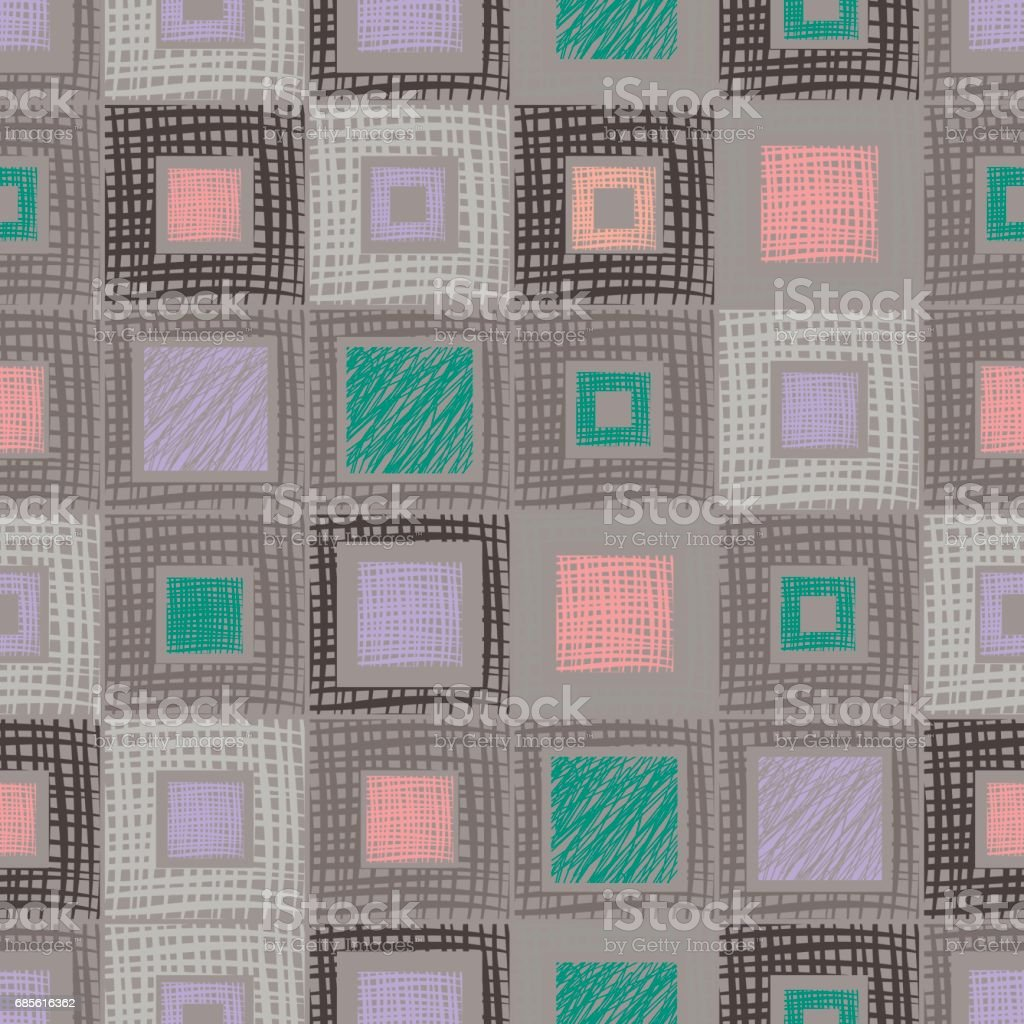 Seamless vector geometrical pattern with rhombus, squares, rectangles endless background with hand drawn textured geometric figures. Pastel Graphic illustration Template for wrapping, web backgrounds seamless vector geometrical pattern with rhombus squares rectangles endless background with hand drawn textured geometric figures pastel graphic illustration template for wrapping web backgrounds - arte vetorial de stock e mais imagens de acariciar royalty-free