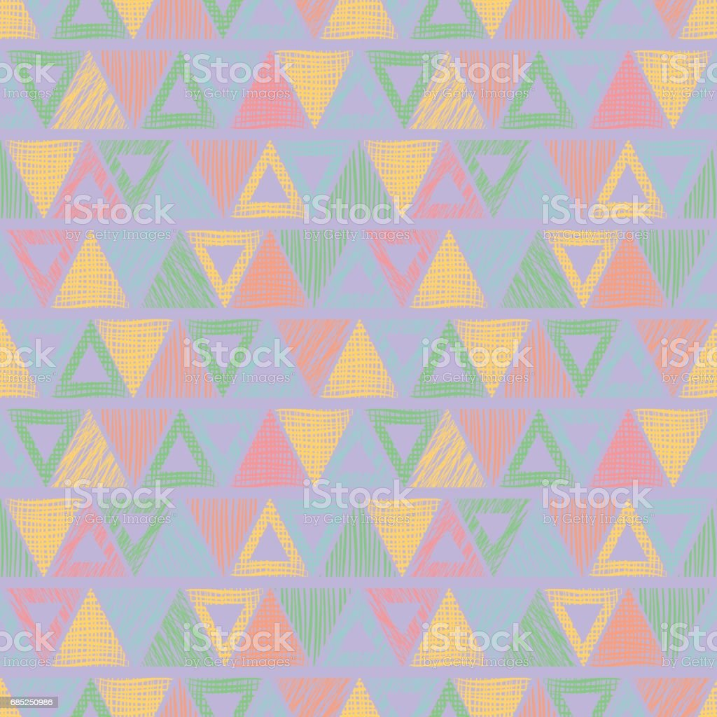 Seamless vector geometrical pattern with triangles. pastel endless background with hand drawn textured geometric figures. Graphic illustration, print for wrapping, background, cover, surface royalty-free seamless vector geometrical pattern with triangles pastel endless background with hand drawn textured geometric figures graphic illustration print for wrapping background cover surface stock vector art & more images of art