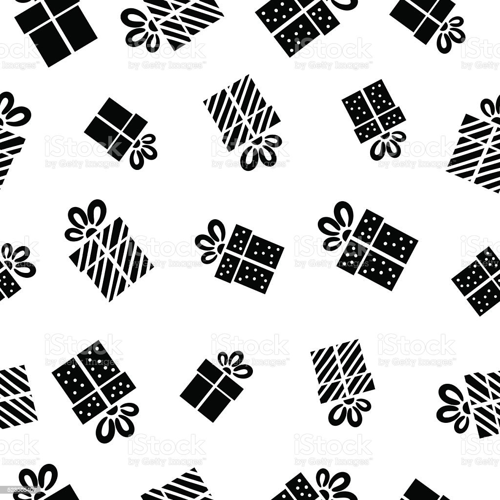 Seamless vector Gift pattern, black gift boxes on white background. vector art illustration