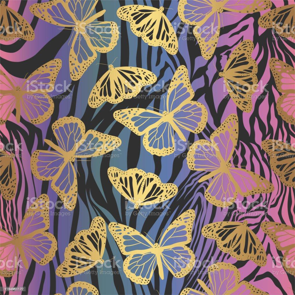 Zebra Print Behang.Naadloze Vector Gouden Vlinders Patroon Vlinder Op Zebra Print