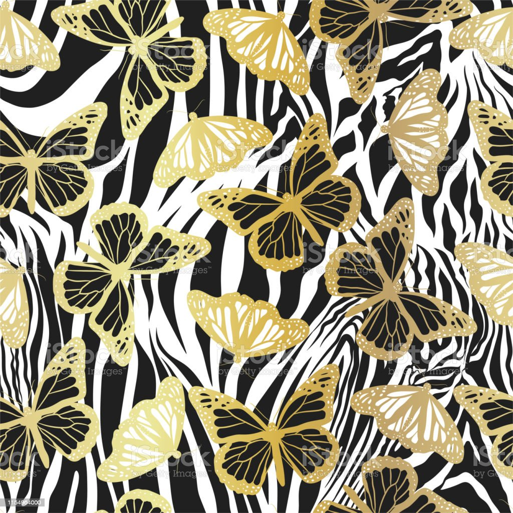 Seamless Vector Gold Butterflies Pattern Butterfly On Zebra Print Trendy Animal Motif Wallpaper Fashionable Golden Background For Fabric Textile