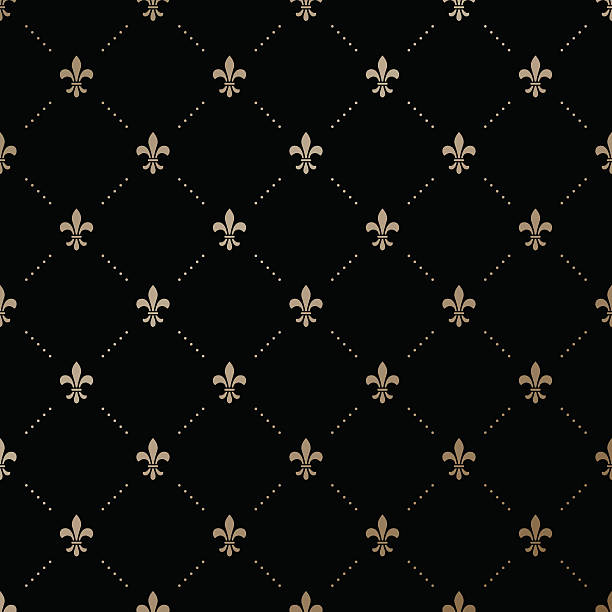 Seamless vector gold pattern with Fleur-de-lis Seamless vector gold pattern with Fleur-de-lis on a black background french culture stock illustrations