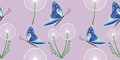 Seamless vector grey pattern with dandelions and blue butterflies on the grey background.