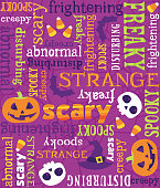 Seamless Vector Halloween Words Pattern