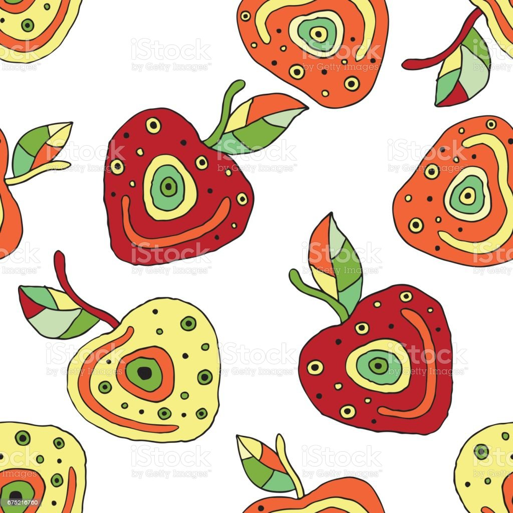 Seamless vector hand drawn childish pattern with fruits. Cute childlike cherry with leaves, seeds, drops. Doodle, sketch, cartoon style background. Line drawing Endless repeat swatch royalty-free seamless vector hand drawn childish pattern with fruits cute childlike cherry with leaves seeds drops doodle sketch cartoon style background line drawing endless repeat swatch stock vector art & more images of art
