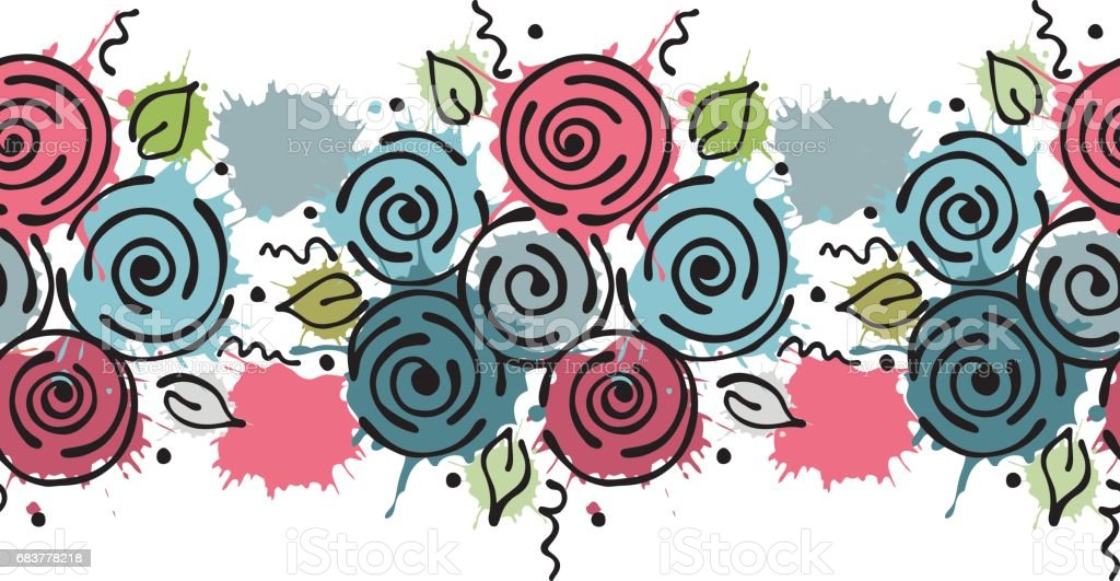 Line Drawing Vector Graphics : Seamless vector hand drawn floral pattern endless border colorful