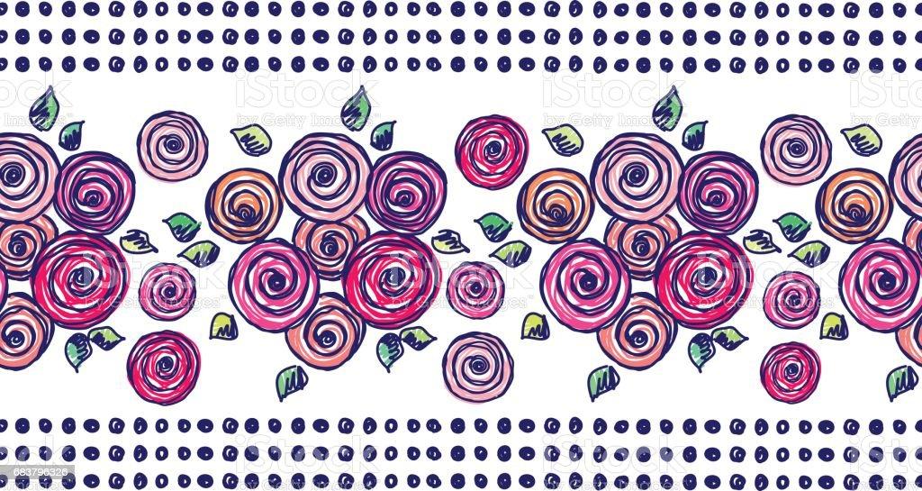 Ilustración de Patrón De Flores Vector Transparente Mano Dibujada ...