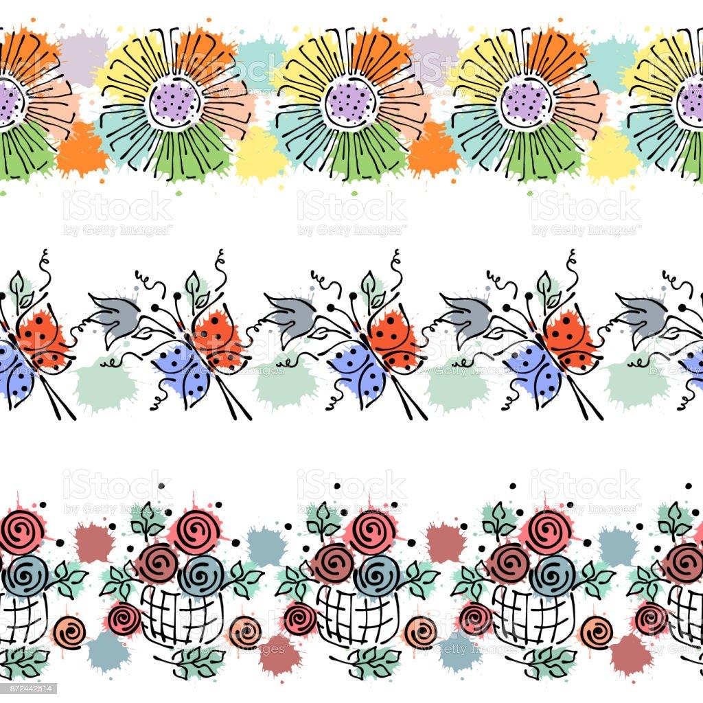 Vetores De Sem Costura Vector Mão Desenhada Padrão Floral