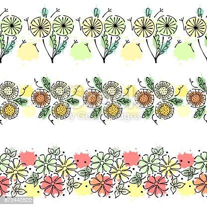 nahtloser vektor hand gezeichneten floralen muster endlose bunte rahmen mit blumen bl tter. Black Bedroom Furniture Sets. Home Design Ideas