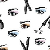 Seamless vector hand drawn pattern of  woman eye and makeup elements. Concept for beauty salon, cosmetics label, cosmetology procedures, visage and makeup.