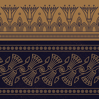 Seamless vector illustration based on the Egyptian national ornament with lotus flower