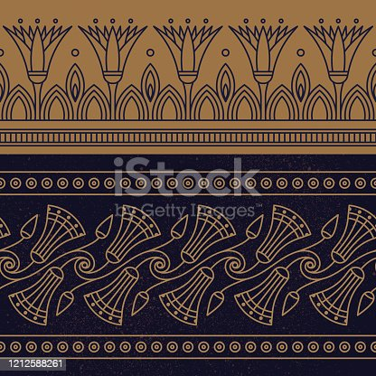 istock Seamless vector illustration based on the Egyptian national ornament with lotus flower 1212588261