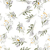 Bohemian flowers pattern, floral hand drawn mix. Seamless vector illustration for fashion, fabric. Scarf prints