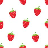 Seamless vector illustration. Pattern with sweet red strawberry with a stem on white background. Healthy vegetarian food