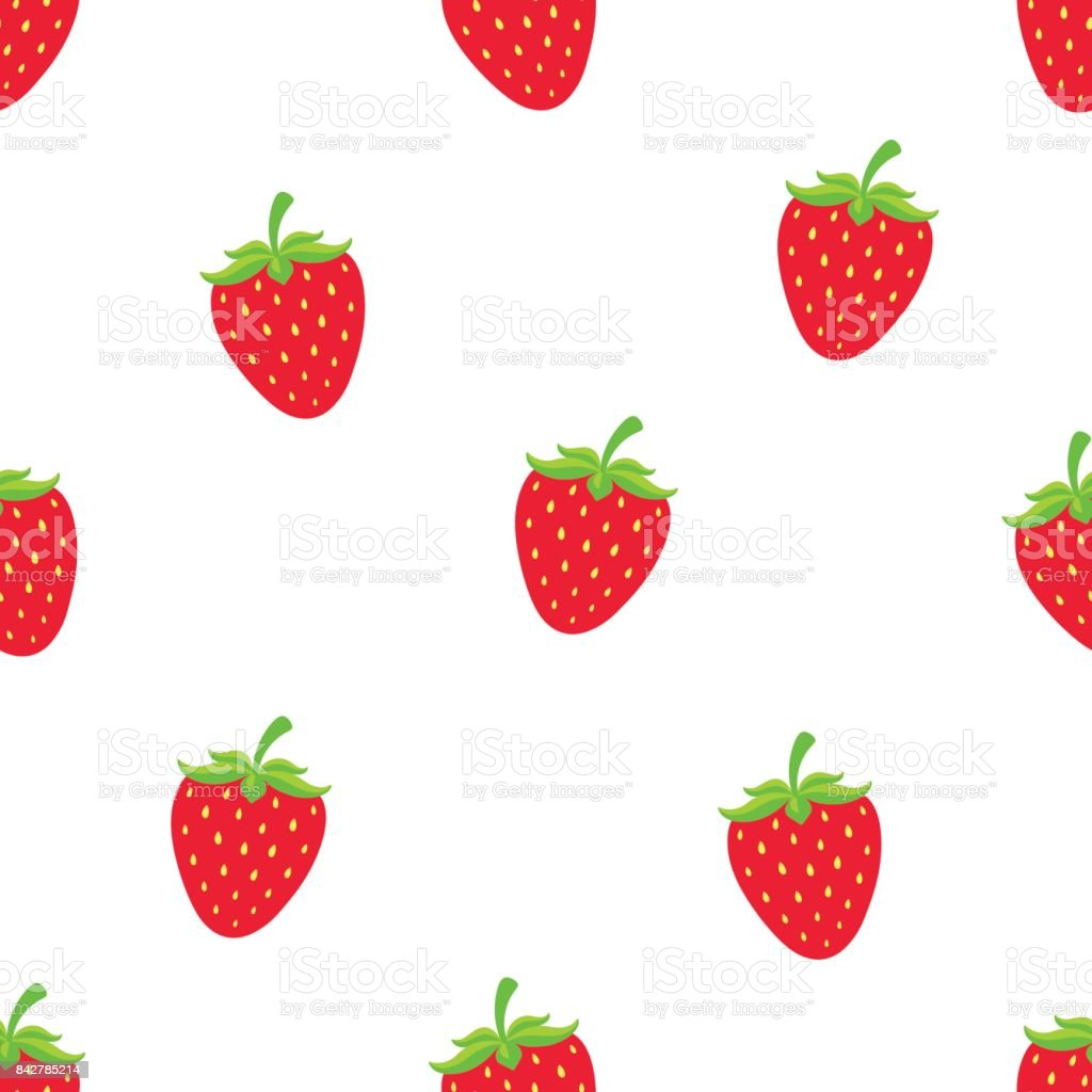 Seamless vector illustration. Pattern with sweet red strawberry with a stem on white background. Healthy vegetarian food vector art illustration