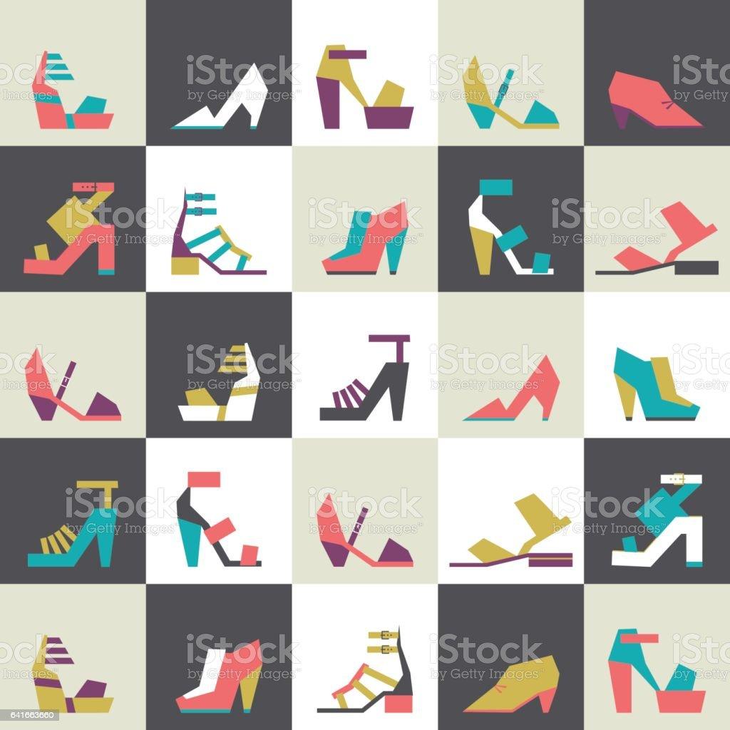 シームレスなベクトル イラスト美しいかかとと靴のパターン