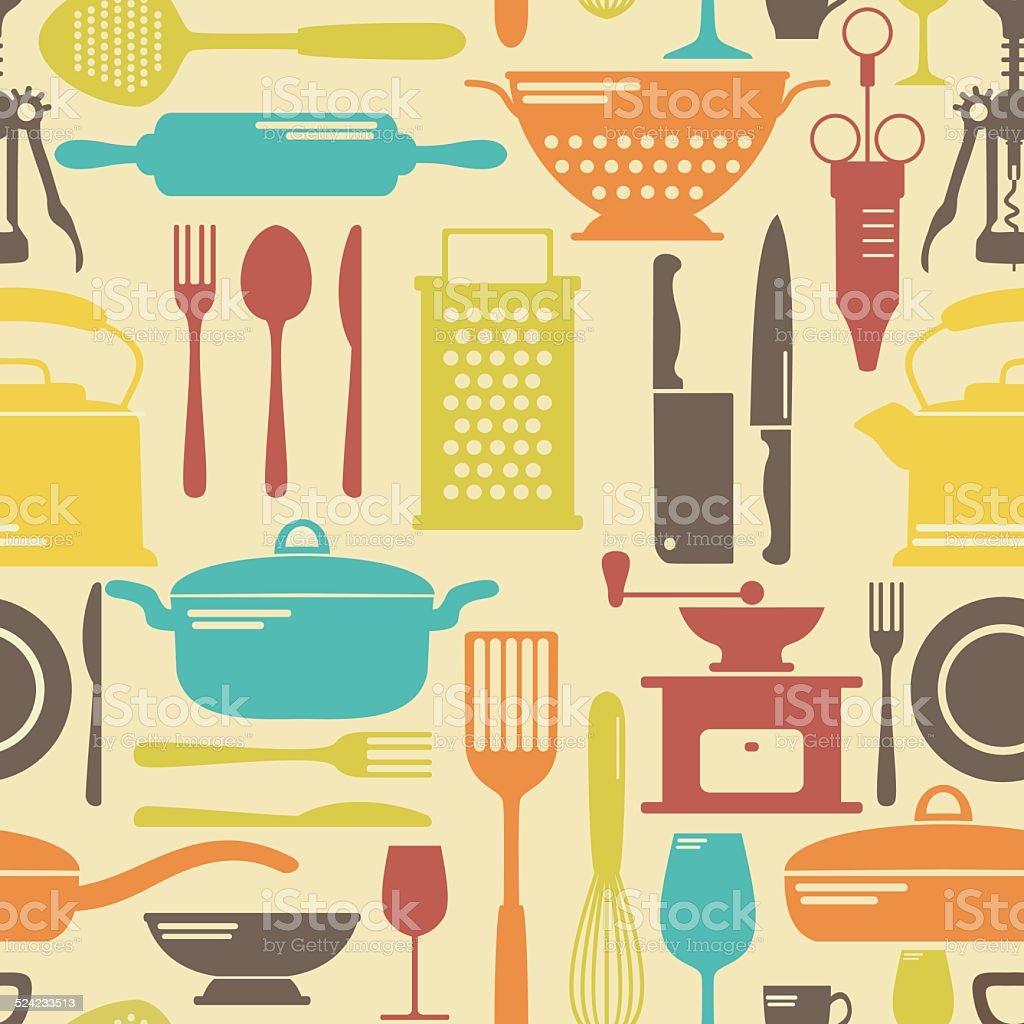 Seamless vector kitchen background vector art illustration