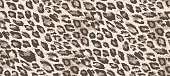 Seamless vector leopard fur pattern. Stylish fashionable wild leopard print. Hand drawn animal print background for fabric, textile, design, advertising banner.