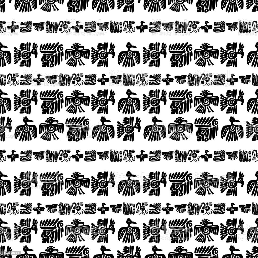 Seamless Vector Maya Pattern Black And White Ethnic Elements Tribal