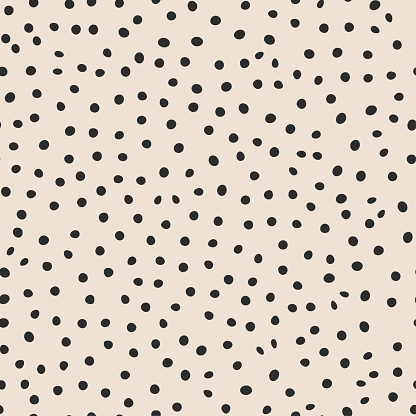 Seamless vector monochrome pattern. Chaotic black dot elements background. For fabric, textile, wrapping, cover etc. 10 eps design.