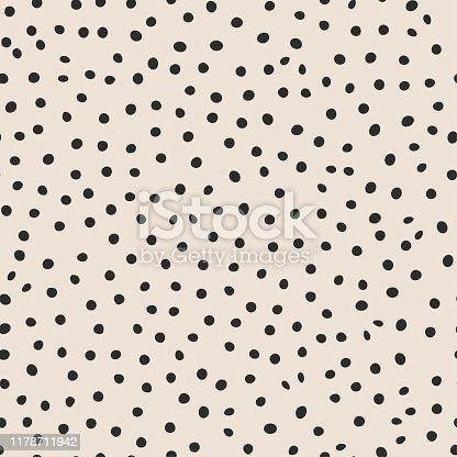 istock Seamless vector monochrome pattern. Chaotic black dot elements background. For fabric, textile, wrapping, cover etc. 10 eps design. 1178711942