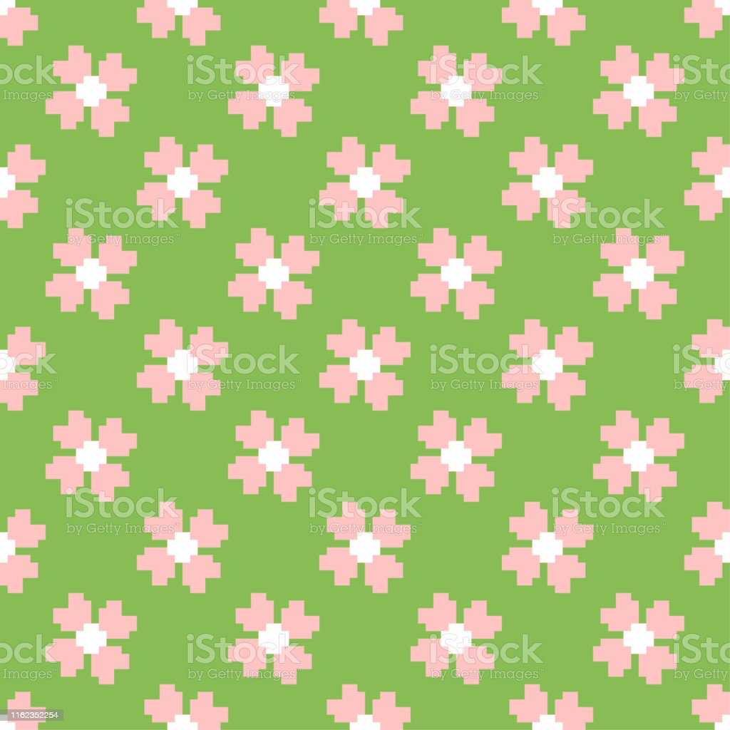Seamless Vector Multicolor Pixel Flowers Pattern Pixel Art 10 Eps Repeat Floral Background For Design Fabric Textile Cover Web Wrapping Stock Illustration Download Image Now Istock